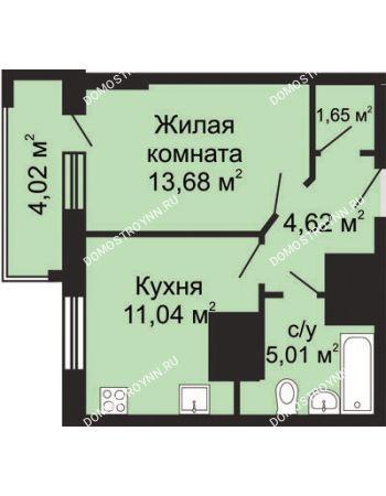 1 комнатная квартира 38,01 м² в ЖК Солнечный, дом № 5 - Гелиос