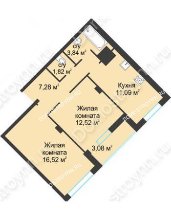 2 комнатная квартира 56,15 м² в ЖК На Вятской, дом № 3 (по генплану)