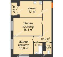 2 комнатная квартира 56,3 м² в ЖК Современник, дом Позиция 7 - планировка