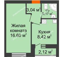 1 комнатная квартира 33,6 м² - ЖК Янтарный