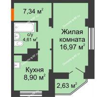 1 комнатная квартира 39,31 м², ЖК Столица - планировка