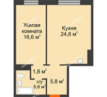 2 комнатная квартира 54,6 м² в ЖК Мичурино, дом № 3.1 - планировка