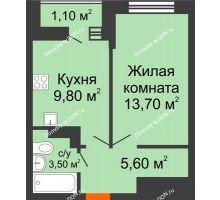 1 комнатная квартира 33,7 м² в ЖК SkyPark (Скайпарк), дом Литер 1, корпус 1, блок-секция 2-3 - планировка