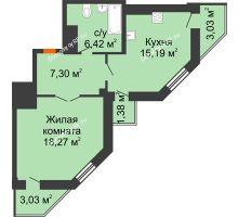 1 комнатная квартира 49,39 м² в ЖК Чернавский, дом 2 этап