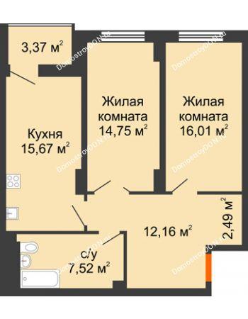 2 комнатная квартира 70,29 м² в ЖК Аврора, дом № 3