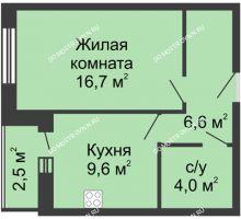 1 комнатная квартира 39,4 м², Жилой дом: ул. Страж Революции - планировка