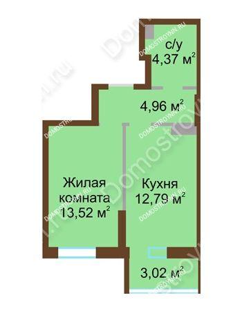 1 комнатная квартира 38,66 м² в ЖК Красная поляна, дом № 8