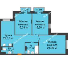 3 комнатная квартира 92,49 м², ЖК Шаляпин - планировка