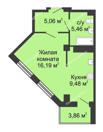 Студия 38,12 м² в ЖК Мега, дом № 2