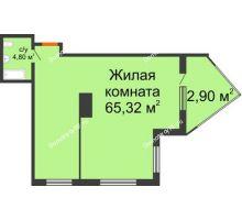 Студия 73,02 м² в ЖК Элегант, дом Литер 11 - планировка