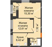 2 комнатная квартира 48,57 м² - ЖК Каскад на Сусловой