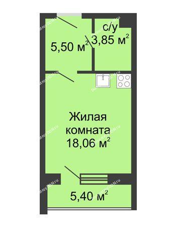 Студия 32,81 м² - ЖК Вдохновение