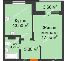 1 комнатная квартира 42,3 м² в ЖК Подкова на Цветочной, дом № 7 - планировка