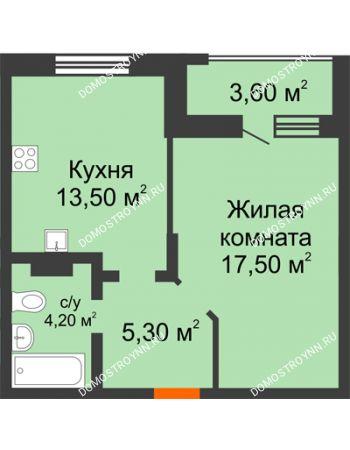 1 комнатная квартира 42,3 м² в ЖК Подкова на Цветочной, дом № 7