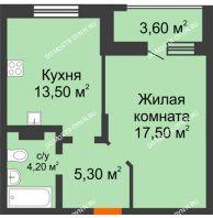 1 комнатная квартира 44,1 м² в ЖК Подкова на Цветочной, дом № 7 - планировка