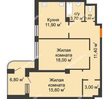 2 комнатная квартира 72 м² в ЖК Парк Островского 2, дом № 1 - планировка