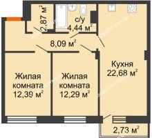 2 комнатная квартира 63,58 м² - ЖК Зеленый берег Life