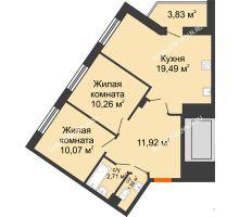 2 комнатная квартира 60,06 м² - ЖК Пушкин