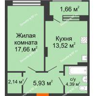 1 комнатная квартира 45,3 м² в ЖК Суворов-Сити, дом 1 очередь секция 6-13 - планировка