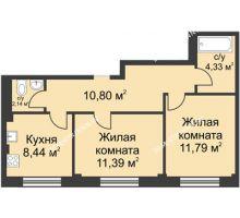 2 комнатная квартира 48,89 м² в ЖК Премиум, дом №1