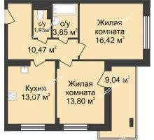 2 комнатная квартира 64,06 м² в ЖК Планетарий, дом № 6 - планировка