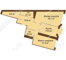 2 комнатная квартира 106,8 м², Жилой дом: ул. Минина д. 1а - планировка
