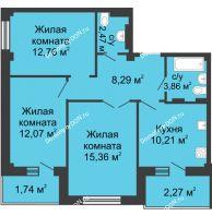 3 комнатная квартира 70,66 м² в ЖК Соловьиная роща, дом № 7 - планировка