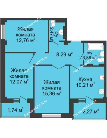 3 комнатная квартира 70,77 м² в ЖК Соловьиная роща, дом № 2