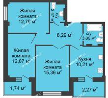 3 комнатная квартира 70,77 м² в ЖК Соловьиная роща, дом № 2 - планировка