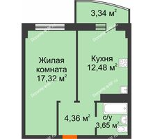 1 комнатная квартира 41,15 м² в ЖК Нива, дом №37 - планировка