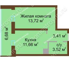 1 комнатная квартира 38,99 м² в ЖК Красная поляна, дом № 8