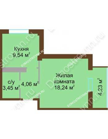 1 комнатная квартира 37,41 м² в ЖК Мой дом на Коломенской, дом № 1