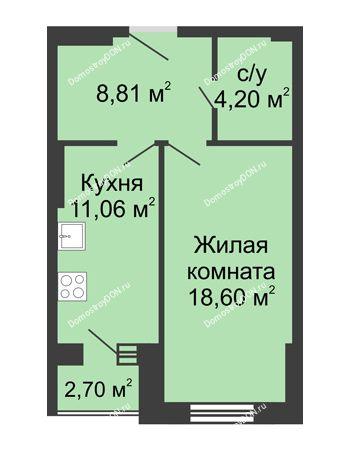 1 комнатная квартира 45,37 м² - ЖК Вдохновение