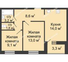 2 комнатная квартира 51,35 м² в ЖК Цветы, дом № 11 - планировка