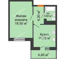 1 комнатная квартира 41 м² в ЖК Я, дом  Литер 2 - планировка