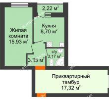 1 комнатная квартира 32,26 м² - ЖК Янтарный