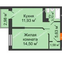 1 комнатная квартира 38,2 м², ЖК Открытие - планировка