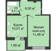 1 комнатная квартира 36,37 м² в ЖК Соловьиная роща, дом № 2 - планировка