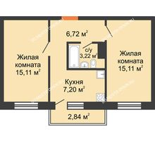2 комнатная квартира 47,36 м² в ЖК Мончегория, дом № 6 - планировка