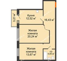 2 комнатная квартира 66,91 м² в ЖК Бограда 109, дом № 2 - планировка