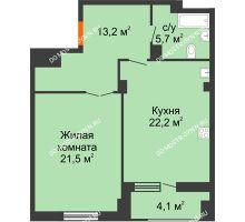 1 комнатная квартира 64,65 м² в ЖК Квартет, дом № 3 - планировка