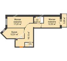 2 комнатная квартира 64,57 м² в ЖК Новый Академгородок, дом № 2 - планировка