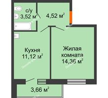 1 комнатная квартира 33,52 м² в ЖК Образцово, дом № 4 - планировка
