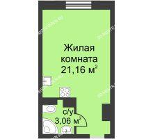 Студия 24,22 м² в ЖК Загородный мкрн Акварель  микрогород Стрижи, дом №7к2 - планировка