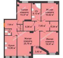 4 комнатная квартира 132,53 м² в ЖК Дом на Провиантской, дом № 12 - планировка