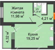 1 комнатная квартира 40,85 м², ЖК Инстеп.Победа - планировка