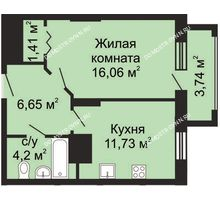 1 комнатная квартира 41,92 м², ЖК Гелиос - планировка