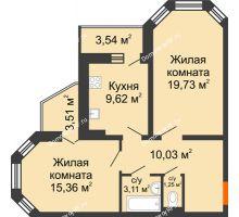 2 комнатная квартира 63,63 м², ЖК Инстеп. Звездный - планировка