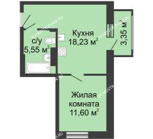 1 комнатная квартира 38,73 м² в ЖК Красная поляна, дом № 6