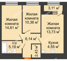 2 комнатная квартира 58,57 м² в ЖК Дом на Набережной, дом № 1 - планировка